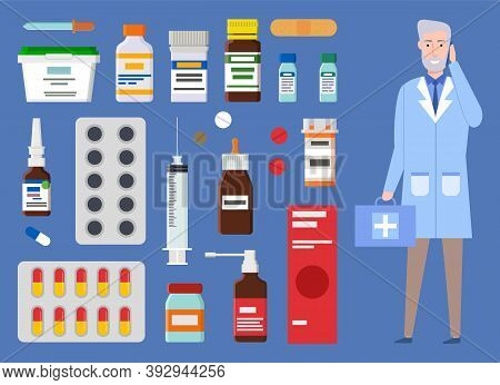 Medical Staff, Doctor, Medic. Medical Or Healthcare Web Icons Colorful Capsules, Containers, Jars Wi