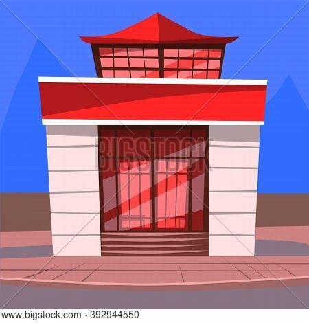 Japanese Cafe Serving Food By Japan Recipes Vector. Diner Building Exterior Facade Of Restaurant In