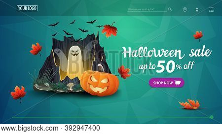 Halloween Sale, Up To 50 Off, Green Discount Banner With Polygonal Texture, Portal With Ghosts And P