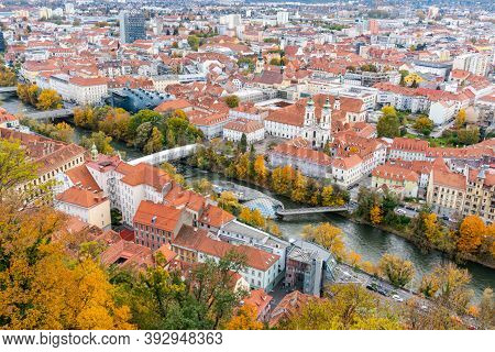 Graz And Mur River N Styria. Capital City Of Steiermark Region In Austria, Europe. Panorama View To