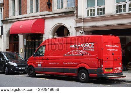 London, Uk - July 15, 2019: Parcelforce Parcel Delivery Van Volkswagen Crafter In London, Uk. Parcel