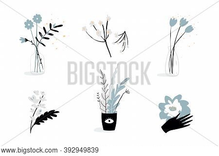 Flowers With Hand, Bottle And Potted Florals Bohemian Botanical Tiny Logo Designs Or Tattoo Drawing.