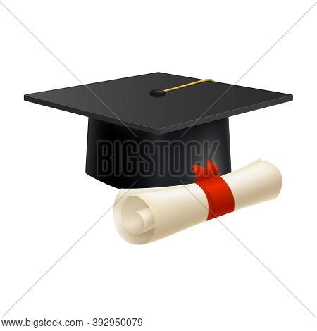 Realistic Graduate Academic Composition With Images Of Paper With Red Ribbon And Square Academic Hat