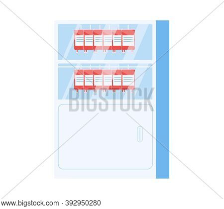 Blood Donation Flat Composition With Closet Bank Blood Cabinet Isolated On Blank Background Vector I