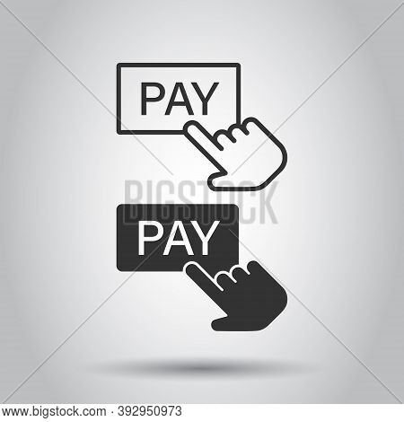 Pay Shop Icon In Flat Style. Finger Cursor Vector Illustration On Isolated Background. Click Button