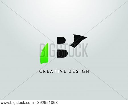 B Letter Logo. Modern Abstract Of Hidden B With Simple Leave Shape. Eco Nature Concept Design.