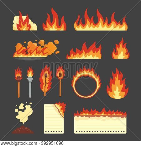 Set Of Hot Flaming Elements. Vector Collection Of Fire Flame Icons In Cartoon Style. Flames Of Diffe