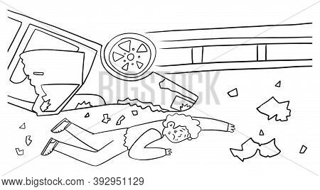 A Man Injured After An Accident Lies On The Road, Vector Illustration. Highway Crash, Car Overturned