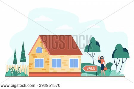 Happy Woman Standing Near House For Sale Flat Vector Illustration. Cartoon Real Estate Agent Or Home