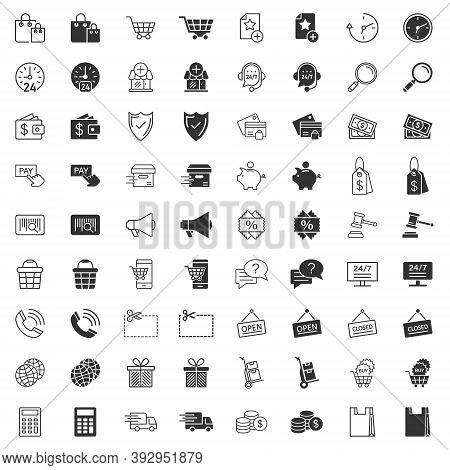 Shopping Icon Set In Flat Style. Online Commerce Vector Illustration On White Isolated Background. M