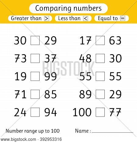 Comparing Numbers. Less Than, Greater Than, Equal To. Number Range Up To 100. Elementary School. Wor