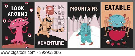 Monsters Greeting Cards Set. Cute Funny Creatures Or Beasts Vector Illustrations With Text. Show For