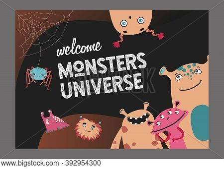 Monsters Universe Page Cover Design. Cute Funny Creatures Or Beasts Vector Illustrations With Text.