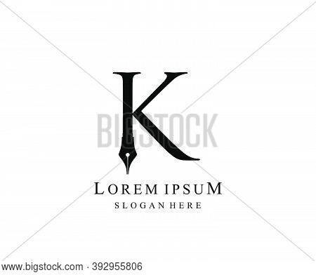 The Writer, Simple Pen K Letter Vintage Logo Design. Perfect For  Journalist, Writer, Artist And Pub