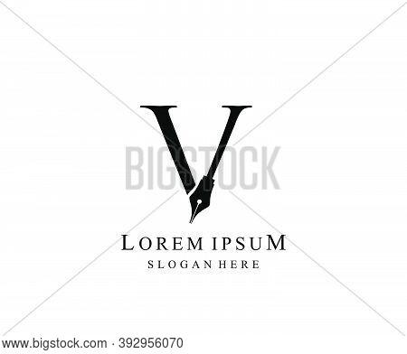 The Writer, Simple Pen V Letter Vintage Logo Design. Perfect For  Journalist, Writer, Artist.