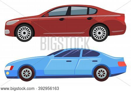 Automobile Of City Vector, Isolated Set Of Cars With Wheels And Toned Windows. Transport Riding, Aut