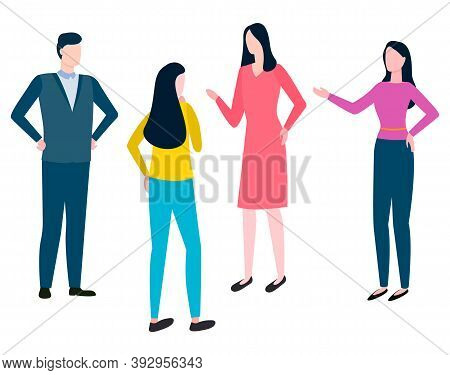 Consulting Man And Woman Discussing Business Issues, Collaboration Of Colleagues. Vector Brokers And