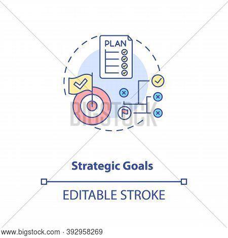 Strategic Goals Concept Icon. Mobile App Development Process. Planning Application Creation. Team To