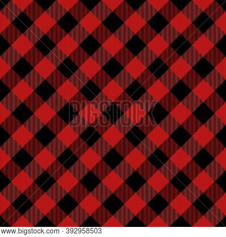 Diagonal Tartan Christmas And New Year Plaid. Scottish Pattern In Red And Black Cage. Scottish Cage.