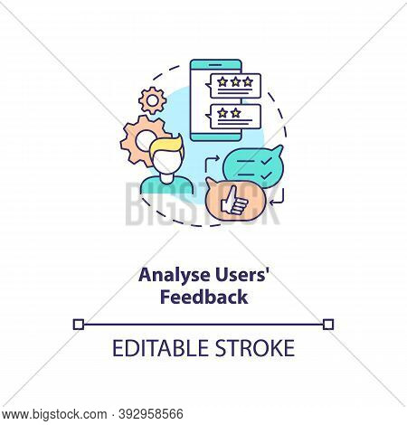 Analyse Users Feedback Concept Icon. App Marketing Tips. After Using Project Experience Telling Idea