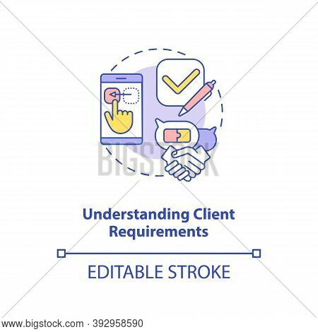 Understanding Client Requirements Concept Icon. App Developer Skills. Easy Information Getting Abili