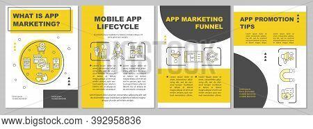 Mobile App Lifecycle Brochure Template. App Marketing Funnel. Flyer, Booklet, Leaflet Print, Cover D