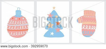 Cute Hand Drawn Christmas Vector Illustrations Ideal For Card, Greeting, Label. Scandinavian Style W