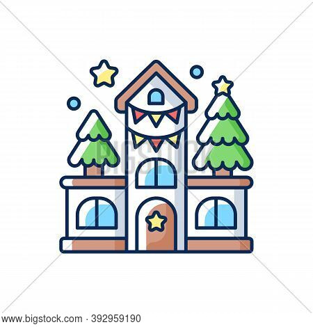 House Decoration Rgb Color Icon. Festive Ornament On Home Facade. New Year Celebration. Christmas Se