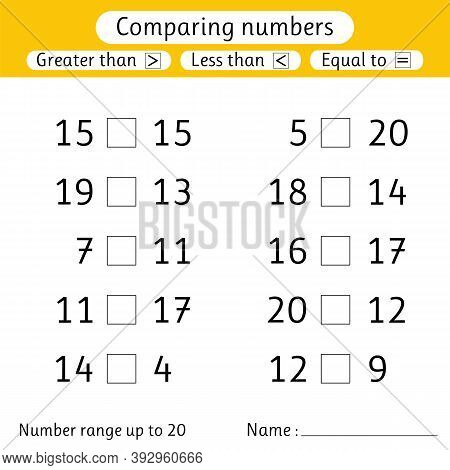 Comparing Numbers. Less Than, Greater Than, Equal To. Worksheets For Kids. Number Range Up To 20. Pr
