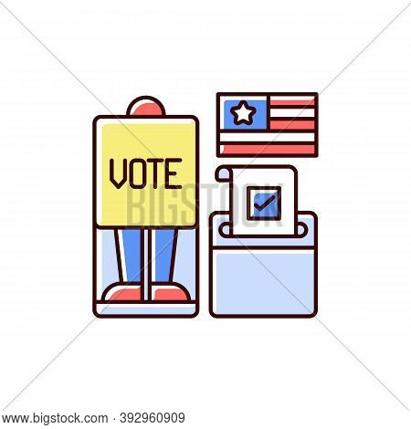 Voting Booth Rgb Color Icon. Cabin In Polling Station. Casting Ballots In Elections. Privacy Screen.