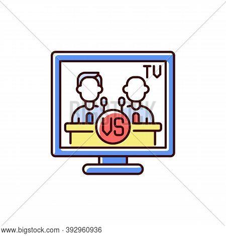 Televised Debates Rgb Color Icon. General Election Campaign. United States Presidential Debates. Pol