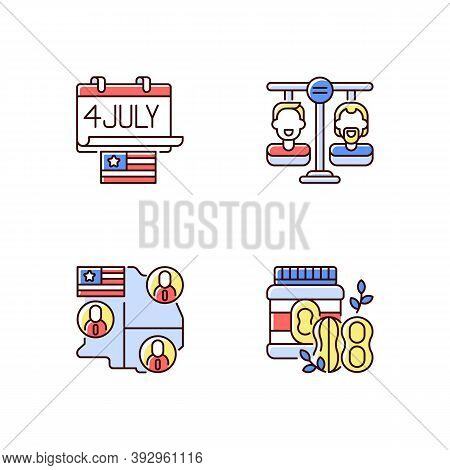 United States Rgb Color Icons Set. Independence Day. Equality Land. Electoral College. Peanut Butter