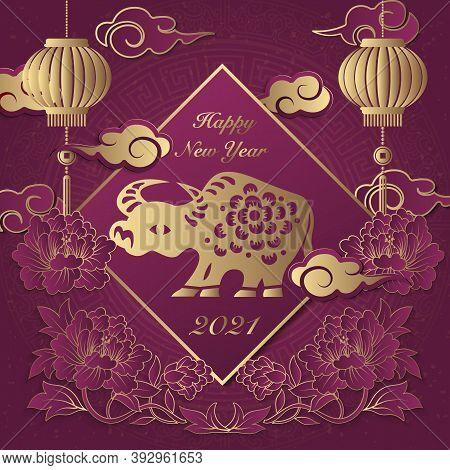 2021 Happy Chinese New Year Of Ox Golden Purple Relief Peony Flower Lantern Rat Cloud Ingot And Spri
