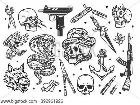Vintage Tattoos Set With Uzi Submachine Gun Assault Rifle Ak47 Dagger Scissors Anchor Knives Bullets