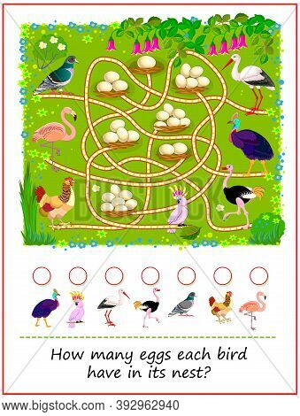Math Education For Children. How Many Eggs Each Bird Have In Its Nest? Count The Quantity And Write