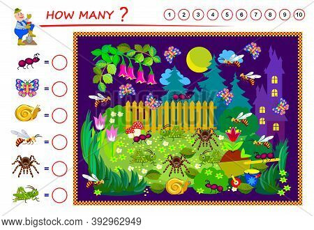 Educational Worksheet For Kids Book. Count The Quantity Of Insects In Garden And Write Numbers In Ci