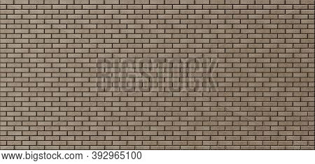 Brick Brown Masonry. Background Of Evenly Laid Bricks. Template For Text And Design. Panoramic Image