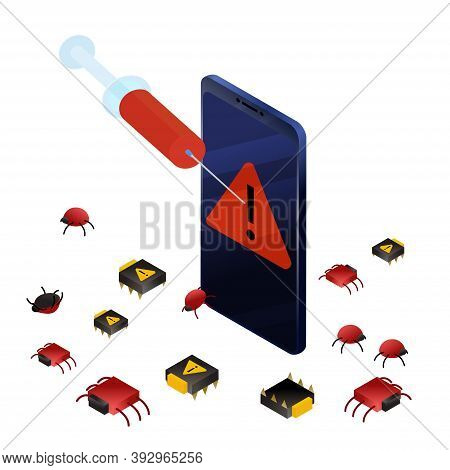 Curing Smartphone From Bugs And Viruses. Isometric Vector Illustration Data Protection, Information
