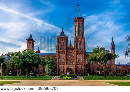 Washington Dc--july 12, 2020; View Of The Front Entrance Of The Red Brick Castle Like Headquarters O