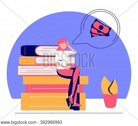 Vector Illustration, Financial Problems, Economic Crisis, Business Bankruptcy, Presses Office Worker