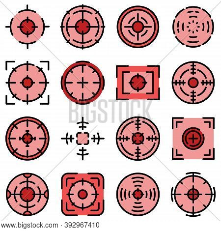 Focus Icons Set. Outline Set Of Focus Vector Icons Thin Line Color Flat On White