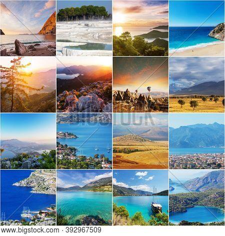 Picturesque famous touristic destinations in Turkey. Collage