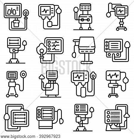 Ventilator Medical Machine Icons Set. Outline Set Of Ventilator Medical Machine Vector Icons For Web