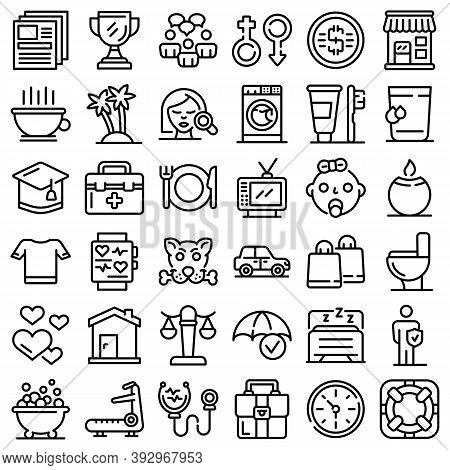 Human Needs Icons Set. Outline Set Of Human Needs Vector Icons For Web Design Isolated On White Back