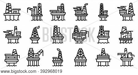 Sea Drilling Rig Icons Set. Outline Set Of Sea Drilling Rig Vector Icons For Web Design Isolated On