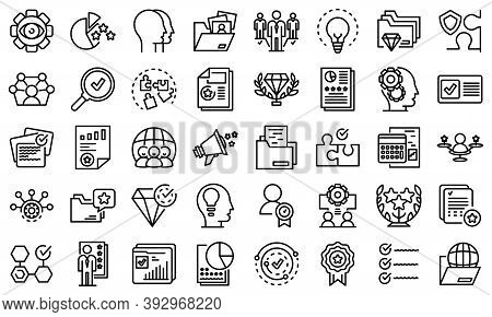 Expertise Icons Set. Outline Set Of Expertise Vector Icons For Web Design Isolated On White Backgrou