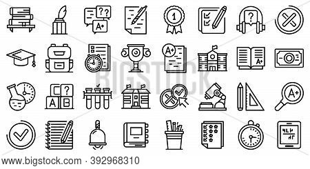 School Test Icons Set. Outline Set Of School Test Vector Icons For Web Design Isolated On White Back