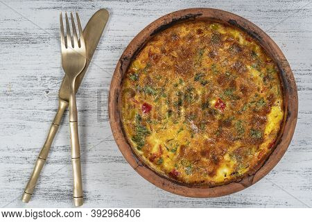 Ceramic Bowl With Vegetable Frittata, Simple Vegetarian Food. Frittata With Tomato, Pepper, Onion An
