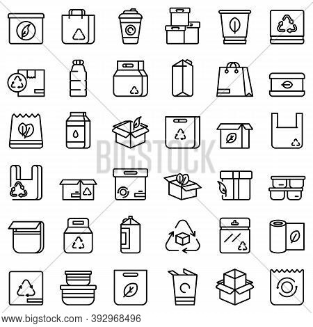 Eco Packaging Icons Set. Outline Set Of Eco Packaging Vector Icons For Web Design Isolated On White