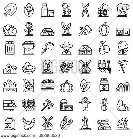Eco Farming Icons Set. Outline Set Of Eco Farming Vector Icons For Web Design Isolated On White Back